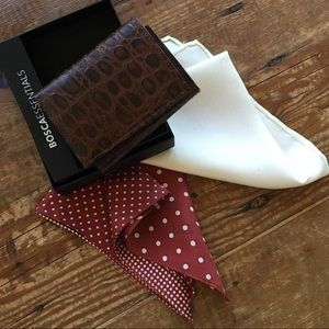 Bosca Trifold Leather Wallet & 2 Silk Squares